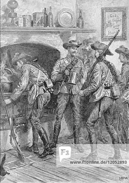 Illustrated London News record of Transvall War 1899-1900. The chievements of the home and colonial forces in the great conflict with the Boer Republics. Spencer Wilkinson record. Colonial troops surprising the Boers at the Lubbes Hoop farm.Sketch by Frederick Villiers