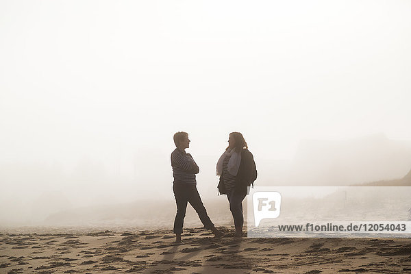 Two Female Friends Stand Talking On A Beach In The Mist; Prince Edward Island  Canada