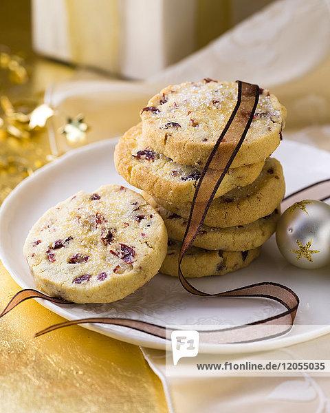 Stapel Cranberry Weihnachtsplätzchen