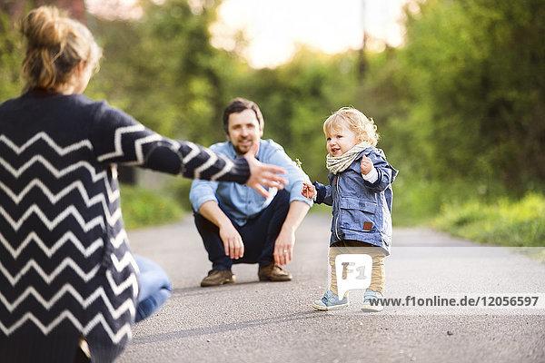 Süßer kleiner Junge mit Eltern auf Feldweg