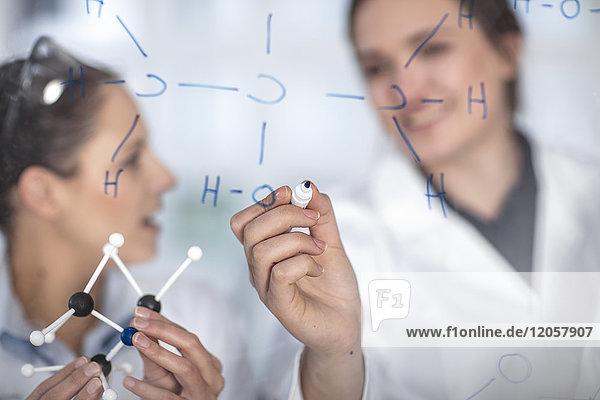 Zwei Wissenschaftler  die im Labor arbeiten und Notizen auf die Glasscheibe schreiben.