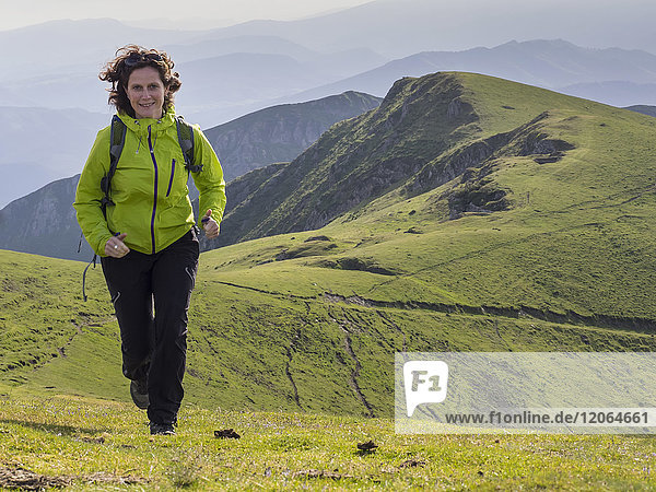 Woman on a hiking tour to Mount Ganekogorta