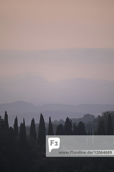 Early morning landscape on Val di Pesa in Tuscany  Italy