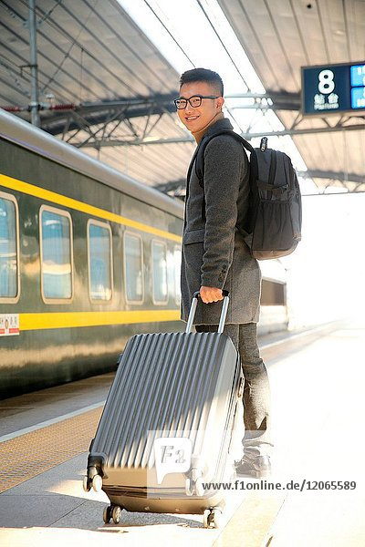 The young man at the station platform