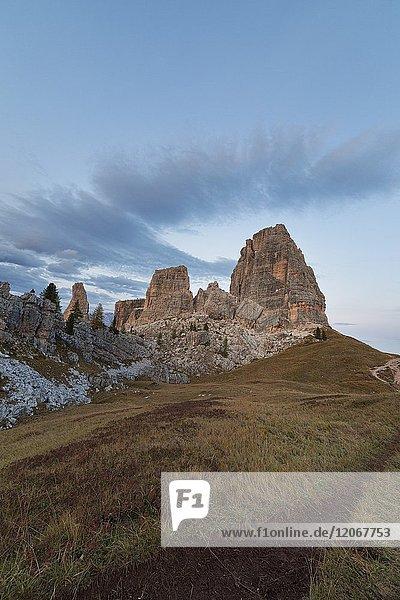 Dusk on Cinque Torri  Dolomites  Cortina d'Ampezzo  Belluno province  Veneto  Italy.