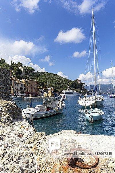 View of the sea from the pier of Portofino  Liguria  Italy.
