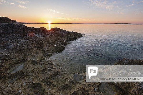 Croatia  Istria  Kamenjak National Park  Sunrise on the Adriatic Sea.