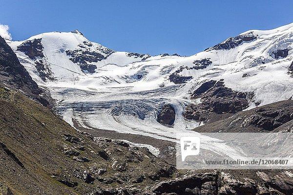 Lombardy  Italy  Forni valley  Cadini peak and seracs of the Forni glacier.