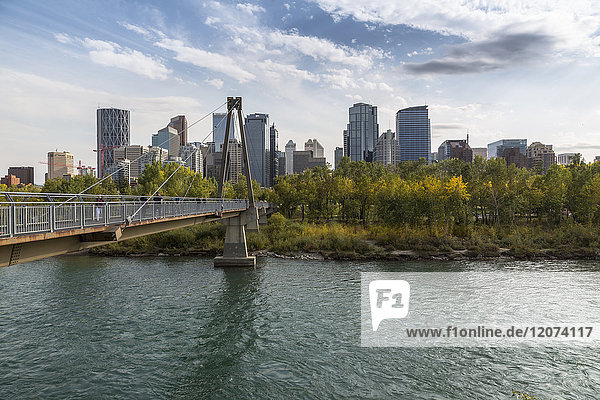 View of Bow River and Downtown from Sunnyside Bank Park  Calgary  Alberta  Canada  North America