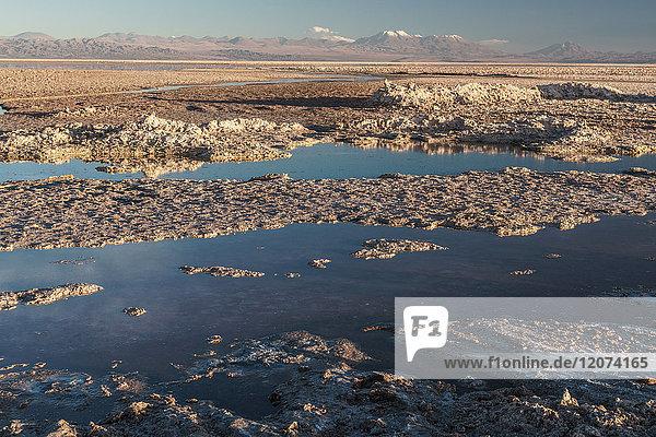 Salt residue piled up by Laguna Chaxa  Atacama Salt Flats  with snow-capped volcanoes  near San Pedro de Atacama  Chile  South America
