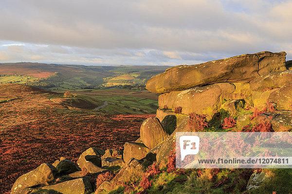 Higger Tor and Hathersage Moor  autumn sunrise  Peak District National Park  Derbyshire  England  United Kingdom  Europe