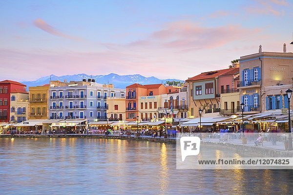The Venetian Harbour at dusk  Chania  Crete  Greek Islands  Greece  Europe
