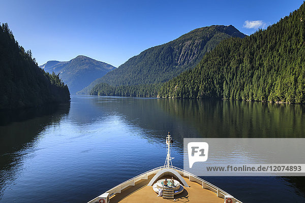 Cruise ship  Rudyerd Bay  beautiful day in summer  Misty Fjords National Monument  Tongass National Forest  Ketchikan  Alaska  United States of America  North America