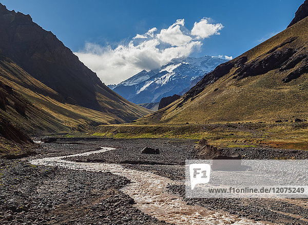 Aconcagua Mountain and Horcones River  Aconcagua Provincial Park  Central Andes  Mendoza Province  Argentina  South America