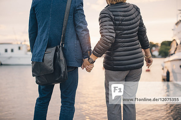 Midsection of senior couple holding hands while standing at harbor