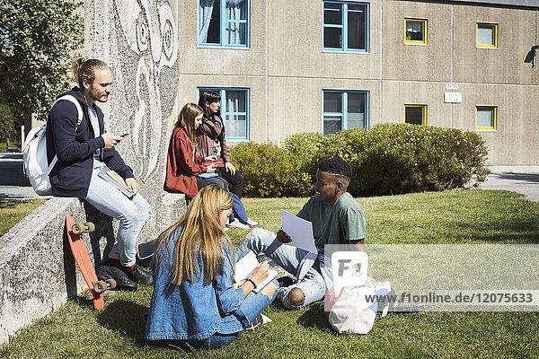 Studenten im Gespräch auf dem Campus