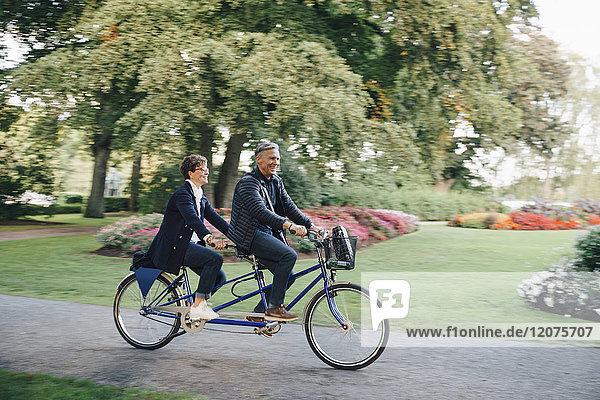 Volle Länge des Seniorenpaares beim Tandemfahren im Park