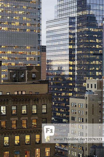 USA  New York  New York City  Reflections on skyscraper