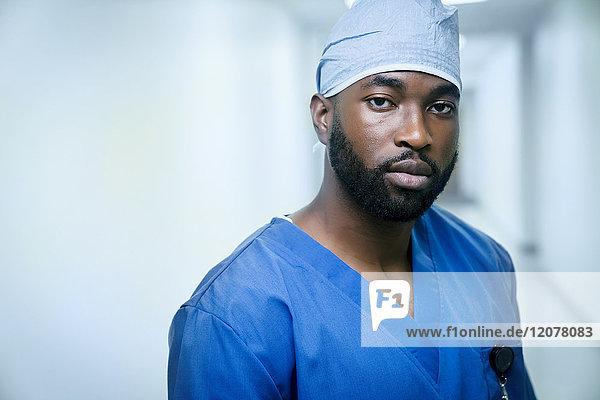 Portrait of serious black nurse