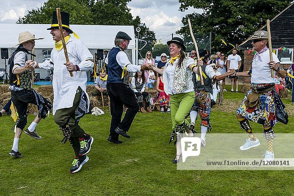 Morris Dancers Performing At The Annual Hartfield Village Fete  Hartfield  East Sussex  UK.