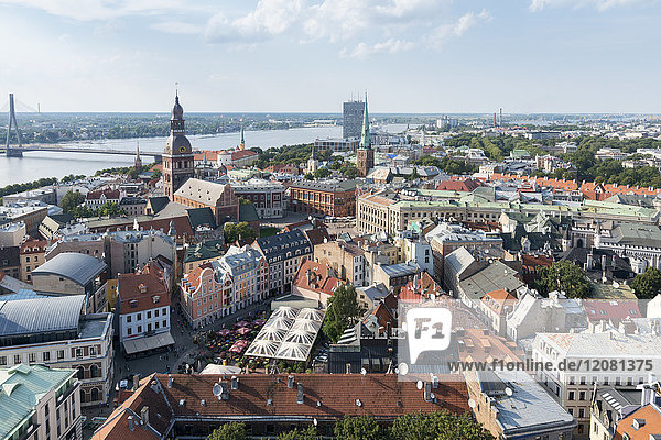 Latvia  Riga  Old town  with Riga Cathedral and St. Peter's Church  Daugava river