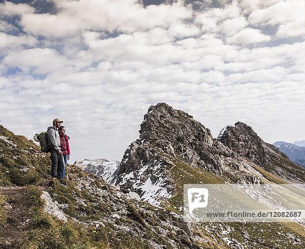 Germany  Bavaria  Oberstdorf  two hikers in alpine scenery
