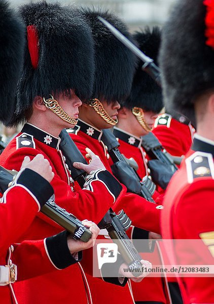 Coldstream guards at changing of the guard at Buckingham palace. London.