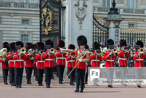 Coldstream guards band playing at changing of the guard at Buckingham palace. London.