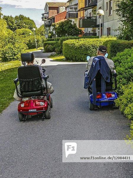 STOCKHOLM  SWEDEN Ekerö suburb. Elderly couple.