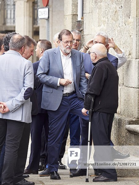 The president of the government of Spain  Mariano Rajoy  travel the streets of Chantada  Lugo  during a political event in Galicia  Spain.