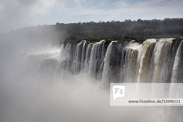 The Devil's Throat is a set of waterfalls 80 m high that detach towards a narrow gorge  is the largest flow of Iguazu Falls  and the highest flow in the world. Park and National Reserve Iguazú - Iguazú Falls. Misiones  Argentina.