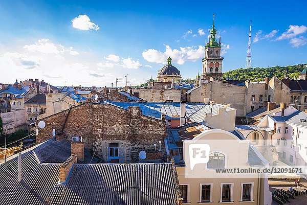 View from the roof of famous restaurant House of Legends on the Old Town of Lviv city  Ukraine with Dominican Church and tower of Dormition Church (Wallachian Church).