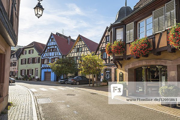 Village Andlau  foothills of the Vosges Mountains  on the Wine Route of Alsace  France.
