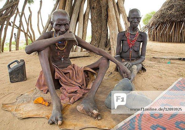 Podo and moko from Karo tribe who had to kill ten mingis children they had before their wedding  Omo valley  Korcho  Ethiopia.