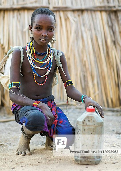 Portrait of an Erbore tribe girl  Omo valley  Murale  Ethiopia.