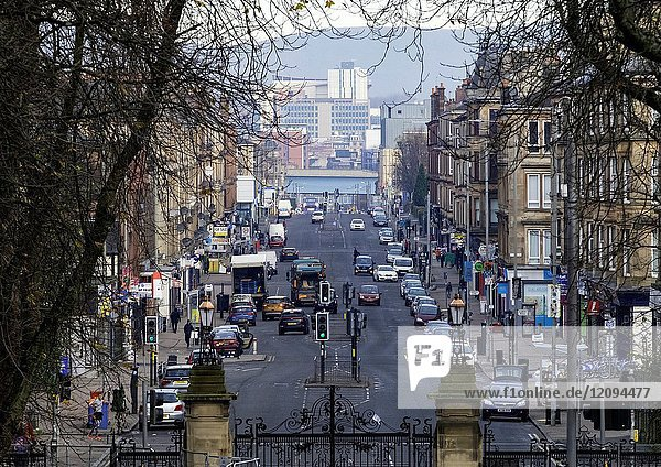 View along main artery of Victoria Road in Govanhill district of Glasgow  Scotland  United Kingdom.