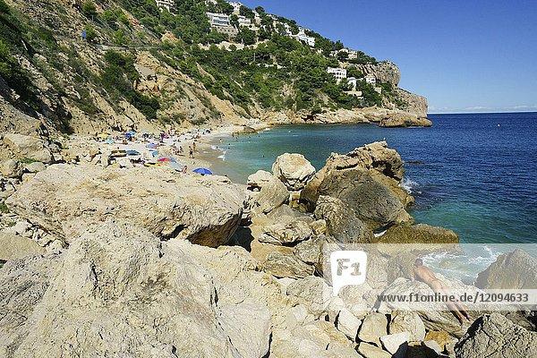 Holidaymakers in Ambolo Cove  Cabo la Nao  Javea  Alicante  Valencia  Spain  Europe