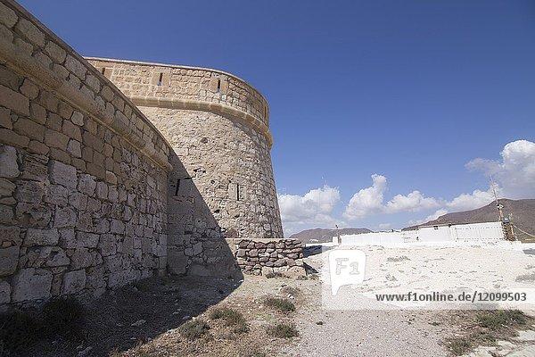 San Felipe castle Los Escullos in Cabo de Gata nature reserve  Almeria  Andalusia  Spain.