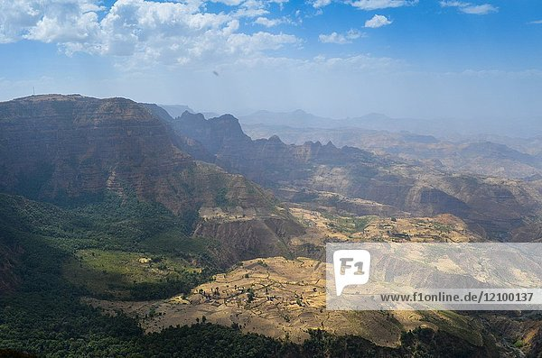 Looking out over the beautiful valley landscapes of the Simien Mountains in Northern Ethiopia.