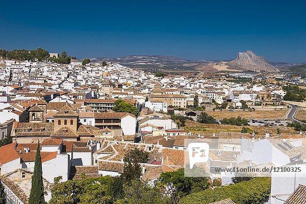 Spain  Andalusia  Malaga Province  Antequera and back the 'Peña de los enamorados' mountain.