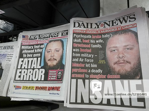 The front pages of New York tabloid newspapers on Tuesday  November 7  2017 use similar covers and the same mug shot as they continue their coverage of the shooting in the First Baptist Church in Sutherland Springs  TX by Devin Kelley in which he killed 26 and wounded 20 during a church service.