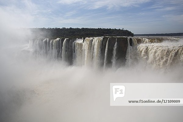 The Devil's Throat is a set of waterfalls 80 m high that are detached towards a narrow gorge  which concentrates the highest flow of the Iguazu Falls  being in turn these waterfalls with the highest flow in the world. Iguazú National Park and Reserve - Iguazu Falls  Argentina
