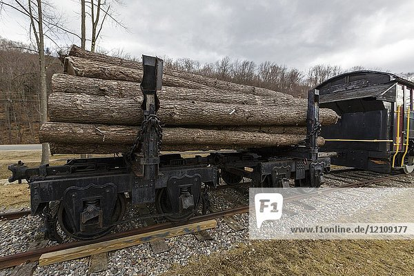 Log truck on display at Loon Mountain in Lincoln  New Hampshire  USA. Log trucks were used to carry logs on the East Branch & Lincoln Logging Railroad.