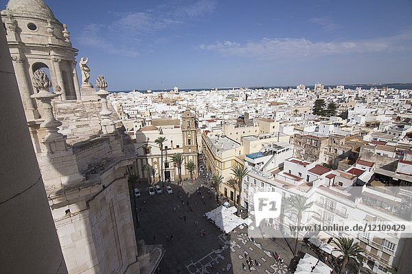 Cadiz from the top of the Cathedral in Andalusia  Spain.