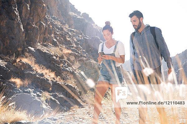 Junges Wanderpaar betrachtet Smartphone beim Wandern im Tal  Las Palmas  Kanarische Inseln  Spanien