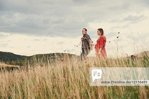 Ein schwangeres Paar mittlerer Erwachsener hält sich beim Spaziergang am Hang an den Händen