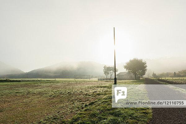 Fog over dirt road through field  Meerfeld  Rheinland-Pfalz  Germany