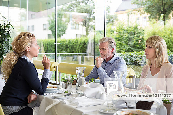 Family al fresco dining at restaurant