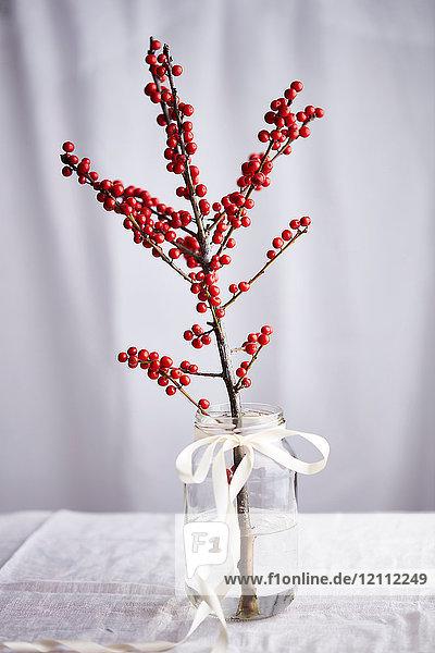 Zweig mit roten Beeren im Glas