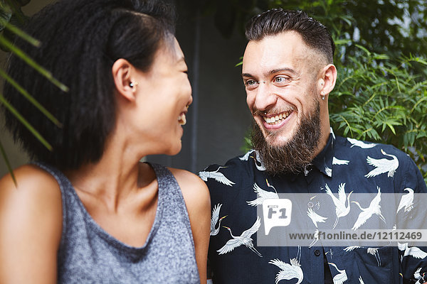 Multi ethnic couple laughing  Shanghai French Concession  Shanghai  China
